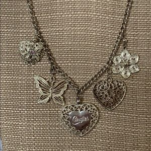 Chunky Silver charm necklace